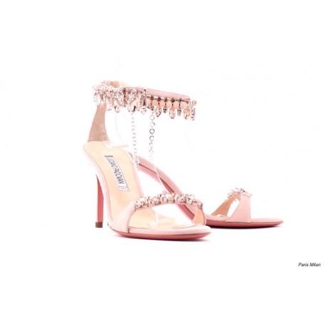 Sandales habillées en daim rose