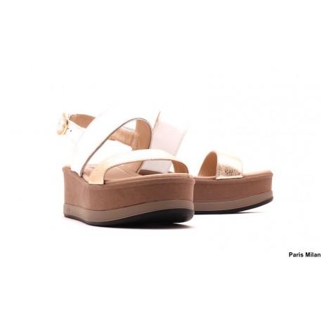 Sandales à plateforme en cuir bicolore