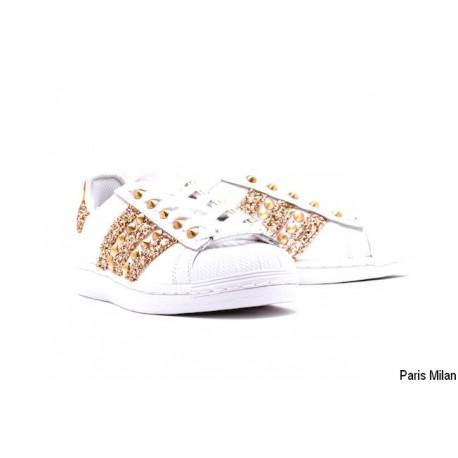 Baskets Superstar Adidas paillettes dorées