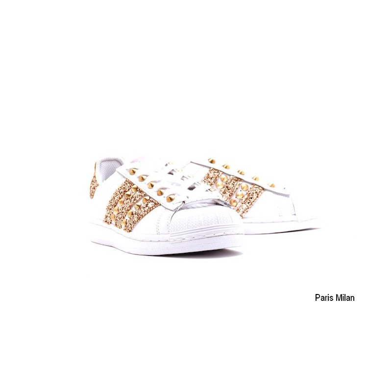 Paris Adidas Baskets paillettes Milan Superstar dorées 5L3j4ARqcS
