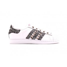 Baskets Adidas Superstar by Dressed paillettes argentés