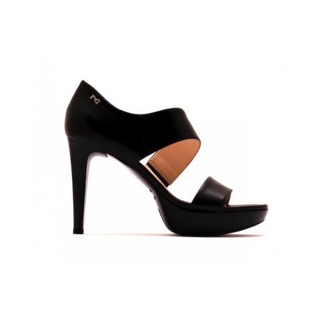 Sandales à plateforme en cuir noir Nero Giardini