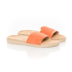 Mules en suede orange et beige By Lovelies