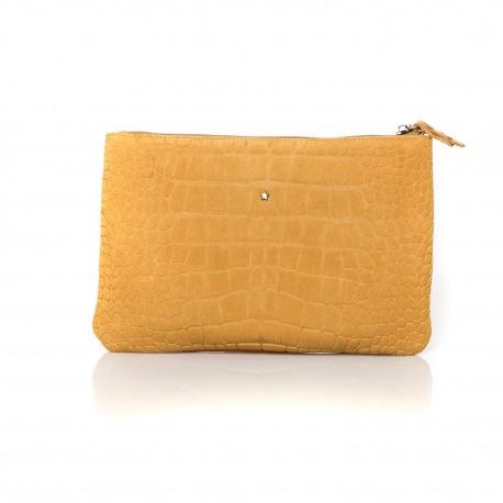 Pochette en suede style croco et cuir jaune Mila Louise