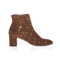 Bottines Avril Gau en cuir velours marron imprimé cosmos