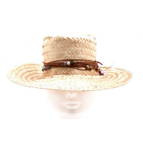 Chapeau en paille customisé