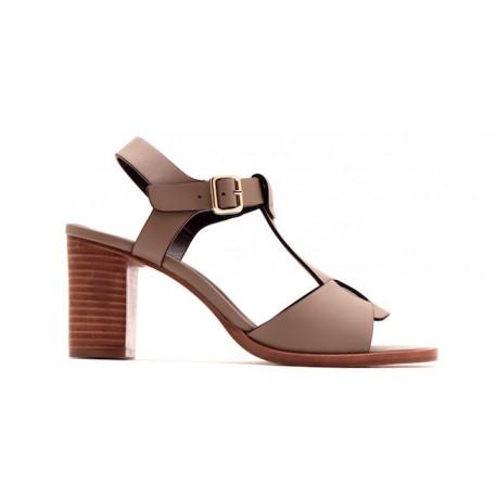 Sandales en cuir taupe Avril Gau