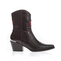 Bottines santiag cuir marron style crocco-Lola Cruz