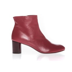 Bottines a bouts ronds en cuir rouge-Avril Gau