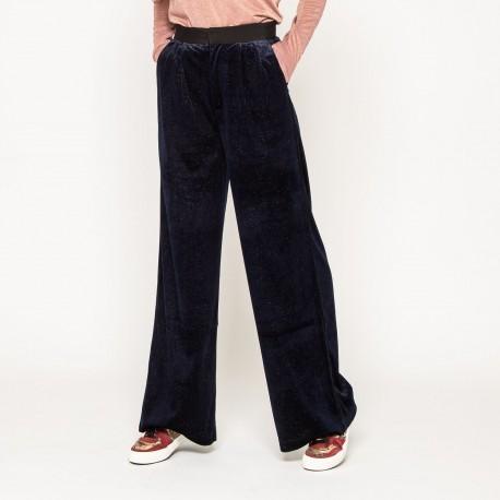 Pantalon en velours bleu nuit-See U Soon