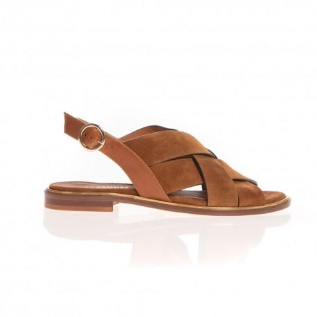 Les Venues sandales en cuir velours camel