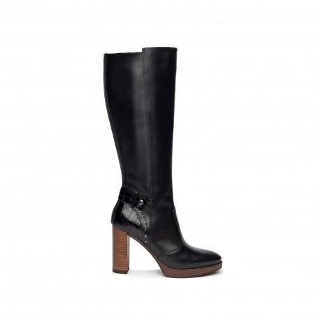 Nero Giardini bottes en cuir noir avec plateau marron